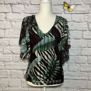 NWOT Le Chateau Abstract Print V-Neck Poncho Top